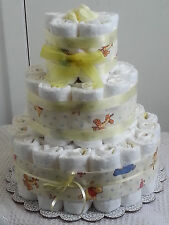 3 Tier Winnie the Pooh Diaper Cake Baby Shower Gift Centerpiece Boy Girl Unisex