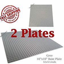 "Genuine LEGO piece-brick + 2 Grey 10""x10"" Base plates 32x32 compatible with LEGO"
