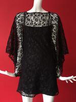 Topshop Vintage Boho Black Floral Lace Wide Sleeves Dress Size 6-8