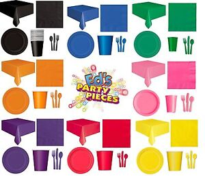 PARTY TABLEWARE - Plates/Cups/Napkins/Tablecovers/Bags/Balloons - 8 Colours