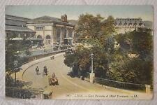 """CPA """" LYON - Gare Perrache et Hôtel Terminus"""