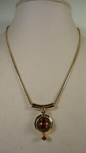 Lee Sands  Amber Cabochon Slider w Snake Chain Necklace