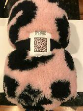 Victoria's Secret Pink Double Sided Sherpa Leopard Pink Black Blanket 50x60 New