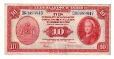 Indie Olandesi Netherland Indie 10 gulden 1943 BB/SPL VF/XF  Pick 114 rif 2687