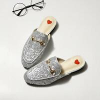 Sequins Bling Flats Loafers Shoes Mules Women's Slipper Shoes Closed Toe Low Top