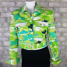 VTG Georgiou Sport Womens Jacket Sze 8 Green Simi Nautical Half Trucker Jacket