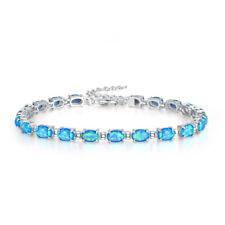 """Silver Blue Fire Opal Women Jewelry Gemstone Chain Bracelet 8 1/4"""" OS556"""