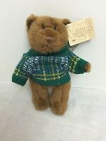 "RUSS BERRIE 6"" BEARS FROM THE PAST STUFFED BEAR WITH GREEN SWEATER"