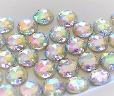 100pcs 10mm Crystal AB Acrylic Gems Round Strass Flatback Sew-on Rhinestones