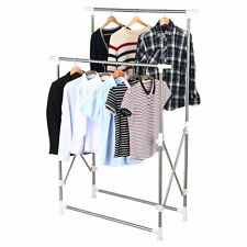 Heavy Duty Collapsible Adjustable Clothing Double Rail Garment Rack Hanger Us