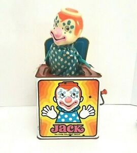 Vintage 1971 Mattel Clown Jack Music Box Pop Up Wind Up Toy Metal