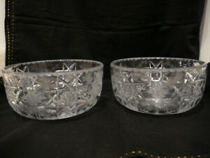 ANTIQUE ABP PAIR HAWKES CUT GLASS BOWLS AMERICAN BRILLIANT PERIOD SIGNED