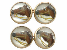 Antique Victorian Essex Crystal & 14k Yellow Gold Horse Cufflinks