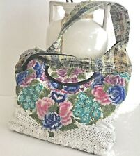 Embroidered Cloth Handbag With Fabric And Lace Zipper Closure