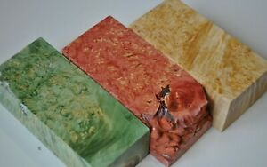 Lot of 3 Small Stabilized Maple Wood Burl Block Box Woodturning Blanks