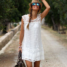 Summer Dress Women Casual Sleeveless Beach Short Dress Tassel White Mini Lace