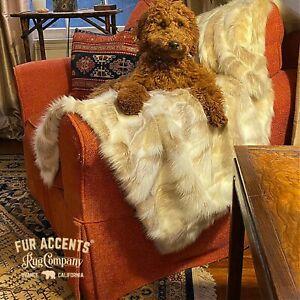 Plush Faux Fur Tan Tibetan Fox Throw Blanket Bedspread Minky Lining Fur Accents
