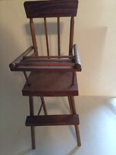 """Vintage Doll or Teddy Bear Wooden High Chair 14""""  Repaired legs Antique toy"""