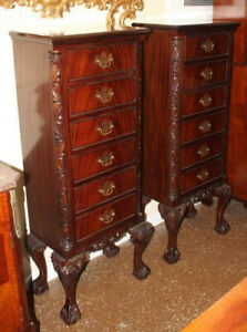Fine Pair of Flame Mahogany Chippendale Style Lingerie Side Chests Mint