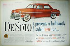 Vintage 1949 DE SOTO Automobile Large 2-Page Magazine Print Ad
