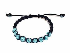 """CANDY BLING"" Aqua Colour Crystal Friendship Bracelet with Hematite (RRP £45)"