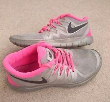 womens girls trainers nike free run 5.0 size 4 EU 36.5 grey pink