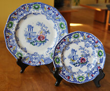 2 Lovely Antique Ironstone Polychrome Blue Transferware Plates Morley Cleopatra