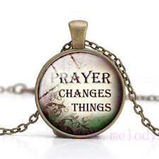 New Cabochon Glass Necklace bronze charm Retro pendants:prayer change things