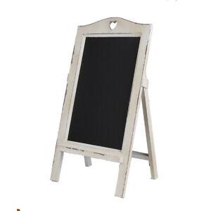 New White Wooden Rustic Vintage Chalkboard with White Heart Easel Rack Blackboar