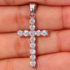 "Cross White Topaz Silver for Women Fashion Jewelry Gemstone Pendant 1 3/8"" FD713"