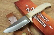 "Fixed Blade Skinner Knife 3 1/2"" Blade Smooth Bone Handle Custom Leather Sheath"