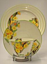 Art Deco Foley  Hand Painted Tea Cup Saucer Plate Trio Primrose V174 E Brian Co