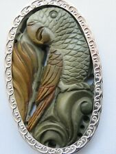 Hand Carved Parrot Sterling Silver New Artistic Design Necklace Jasper