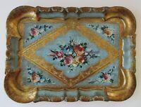 Vintage Ornate Firenze Le Lampade Tray Floral Italian Wooden Florentine Handmade