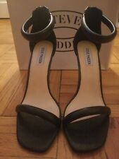 STEVE MADDEN Black Fancier  Zipper Back Heeled Sandals