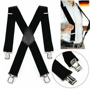 Hosenträger starke 50mm Damen Herren Extra Breit Hosen X-Form mit 4 Clips
