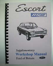 RS 1600 Supplementary Workshop Manual Mk1 Escort AVO As Distributed to Dealers
