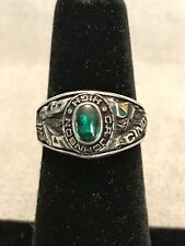 Salesman Sample 95 School Class Ring CINDY, Bumble Bee, Green Stone - W/Tag