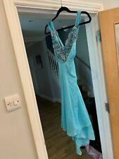 Charas  V Neck Aqua Blue midi party prom shift dress UK 14 Chiffon corset back