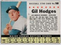 1961 Post #168 Gil Hodges VG-VGEX Crease Los Angeles Dodgers FREE SHIPPING