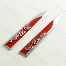 2pc Metal Emblem Trunk Side Wing Fender Red Decal Car Badge Sticker for CADILLAC