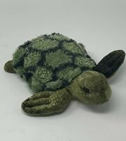 "Aurora Plush Sea Turtle 7"" Bean Filled Green with Gold Belly Stuffed Animal Toy"