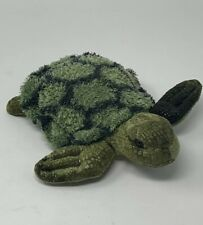 """Aurora Plush Sea Turtle 7"""" Bean Filled Green with Gold Belly Stuffed Animal Toy"""