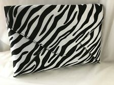 3b06d6a65066 NEW BLACK WHITE ANIMAL PRINT ZEBRA FAUX FUR EVENING DAY CLUTCH BAG SHOULDER
