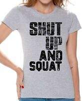 GYM T shirts Shirts Top for Women Shut Up And Squat Women's Workout