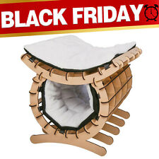 2 Layer Pet Cat Hammock Wooden Furniture with Two Removable Soft Mats