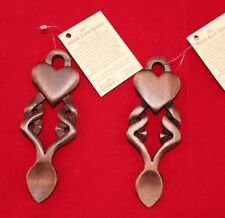 2 Welsh love spoons Pair With tags wooden 14cm approx Wedding gift Heart B24