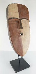 Vintage 20th Century Carved African Style Painted Decorative Mask on Stand