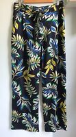ZARA Navy Blue Floral Leaf Print Palazzo Trousers Sz L 12 14 Belted Silky Summer