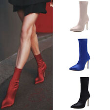 Womens Silk Satin Ankle Stretch Socks Boots High Heels Pointed Toe Stilettos NEW